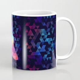 Human silhouette meditating or doing yoga. Metatrons Cube, Flower of life. Coffee Mug