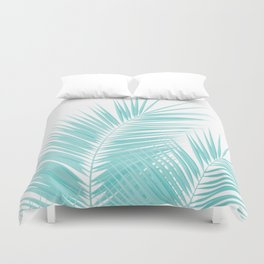 Soft Turquoise Palm Leaves Dream - Cali Summer Vibes #1 #tropical #decor #art #society6 Duvet Cover