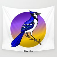 jay fleck Wall Tapestries featuring BLUE JAY by SCREAMNJIMMY