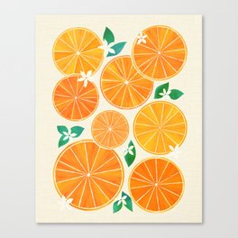 Orange Slices With Blossoms Canvas Print