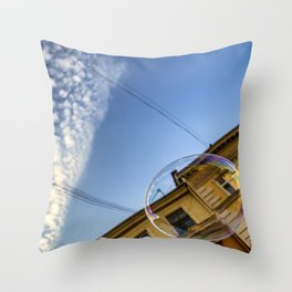 Soap bubble in the sky Throw Pillow