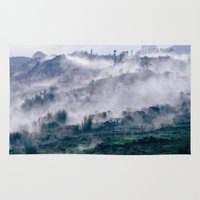 vietnam Area & Throw Rugs featuring Foggy Mountain of Sa Pa in VIETNAM by CAPTAINSILVA