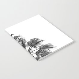 B&W Palm Tree Print | Black and White Summer Sky Beach Surfing Photography Art Notebook