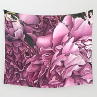 peonies Wall Tapestries featuring Peonies by Jada Fitch