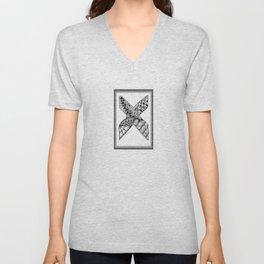 Zentangle X Monogram Alphabet Initial Unisex V-Neck