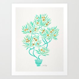 Bonsai Tree – Mint & Gold Art Print