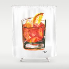 Negroni Cocktail Hour Shower Curtain