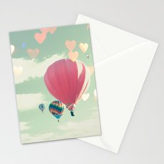 Hot air balloon nursery and heart bokeh on pale blue Stationery Cards