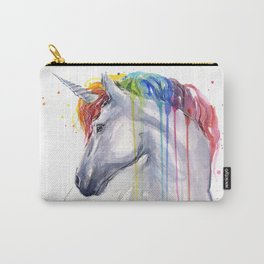 Rainbow Unicorn Watercolor Carry-All Pouch