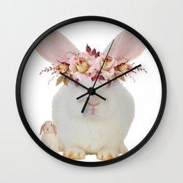 Rose Rabbits Wall Clock