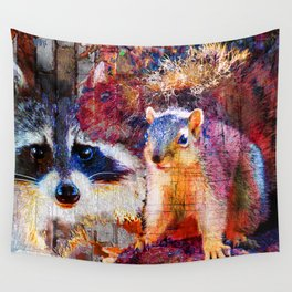Squirrel And Raccoon Wildlife Art, Modern Nature Art Wall Tapestry