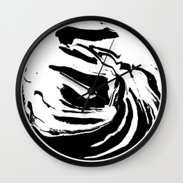 World's Threshold Black and White Marbling, Marbles Lost Wall Clock