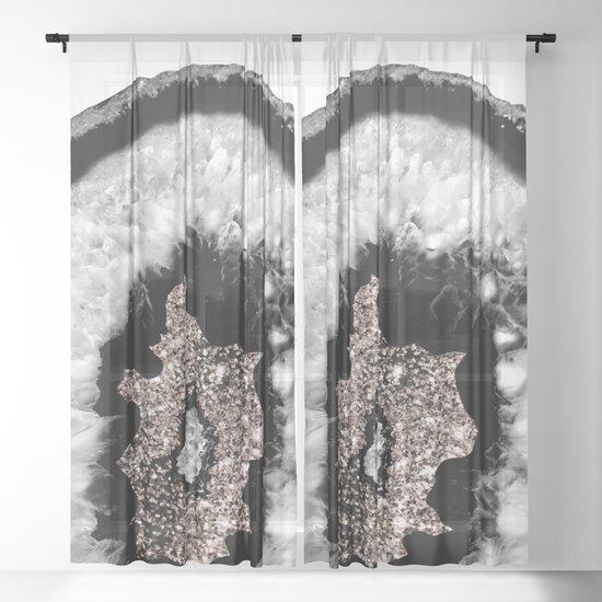 Gray Black White Agate Glitter Glamor #5 #gem #decor #art #society6 by anitabellajantz