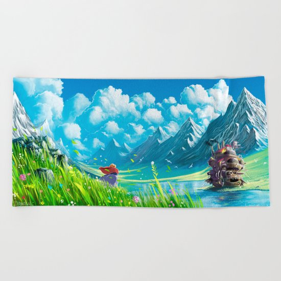 Howls Moving Castle Beach Towel