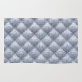 Quilted Soft Blue Velvety Pattern Rug