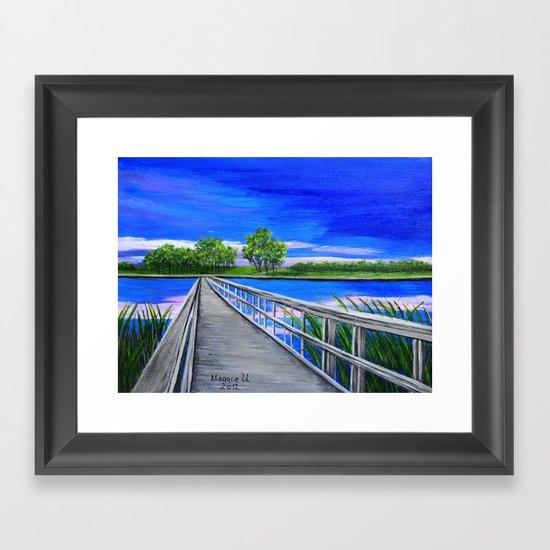 Walking bridge on the lake  Framed Art Print