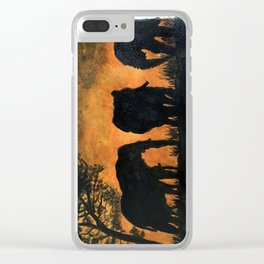 Elephants at sunset Clear iPhone Case