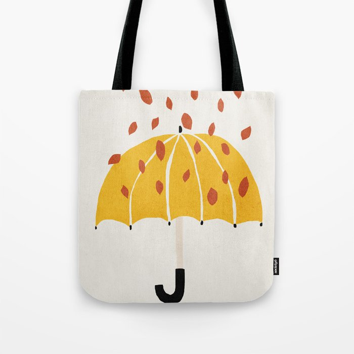 Umbrella, Autumn, Mid century modern kids wall art, Nursery room Tote Bag