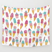 ice cream Wall Tapestries featuring Ice Cream by Jacqui Lee
