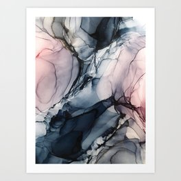 Blush, Navy and Gray Abstract Calm Clouds Art Print