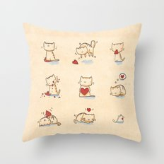 Cats and hearts Throw Pillow