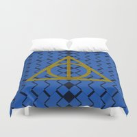 ravenclaw Duvet Covers featuring The Deathly Hallows Ravenclaw by cinefuck