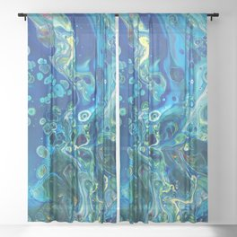 Fluid Nature - Marine Odyssey - Abstract Acrylic Art Sheer Curtain