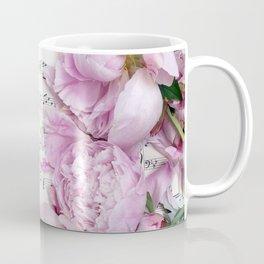 Shabby Chic Cottage Peonies On Sheet Music - Inspirational Peonies Print Coffee Mug