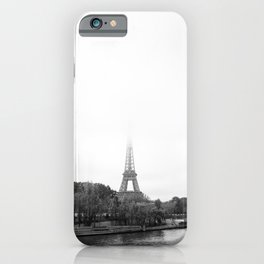 Eiffel Tower in the mist | Paris travel photography | Black and white art print iPhone Case