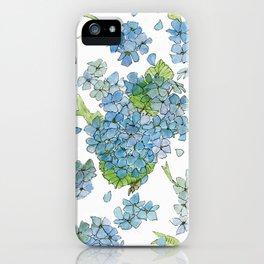 Blue Hydrangea Watercolor iPhone Case