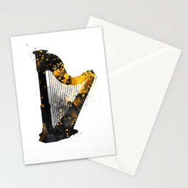 Harp music art gold and black #harp #music Stationery Cards