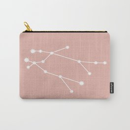 Gemini Zodiac Constellation - Pink Rose Carry-All Pouch