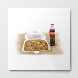 Watercolor Illustration of Chinese Street Food - Fried rice Metal Print