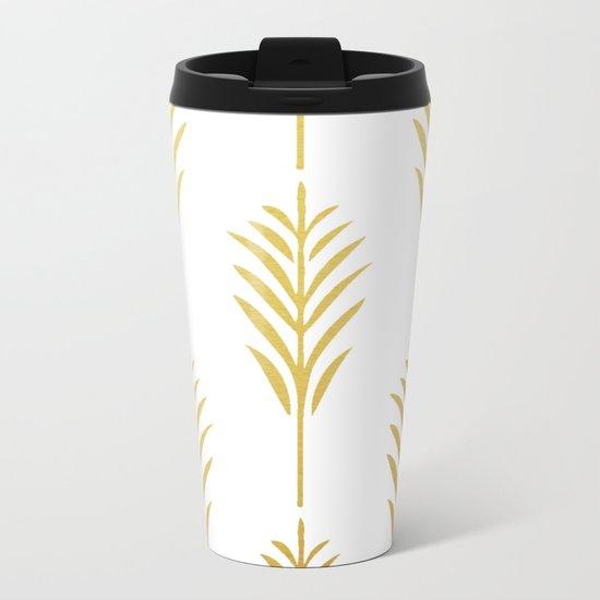 Golden Palm Leaves on White Metal Travel Mug
