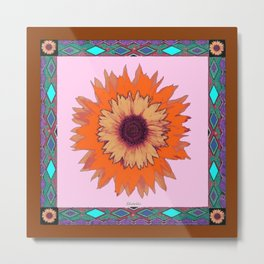 Western Style Chocolate Brown Pink-Orange Sunflower Art Metal Print