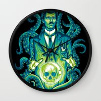 lovecraft Wall Clocks featuring Everybody loves Lovecraft by David Maclennan