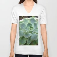succulent V-neck T-shirts featuring Succulent by Sara Valor