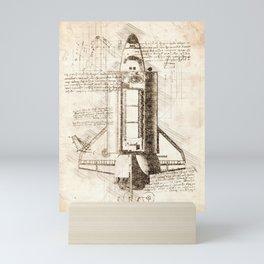 Space shuttle sketch Mini Art Print