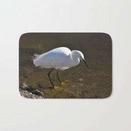 Snowy Egret with Catch Bath Mat