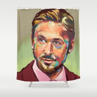 ryan gosling Shower Curtains featuring Hey, girl. It's Ryan Gosling by Cori Redford