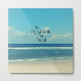 He Restoreth My Soul Bible Verse with Beach Metal Print