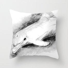white dolphin Throw Pillow