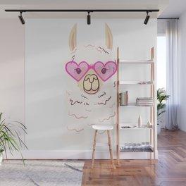 Cute Llama in trendy glasses Wall Mural