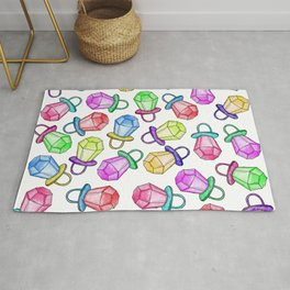 Retro 80's 90's Neon Colorful Ring Candy Pop Rug