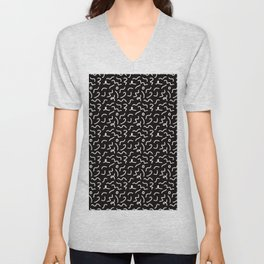 Postmodern Squiggles in Black + White Unisex V-Neck