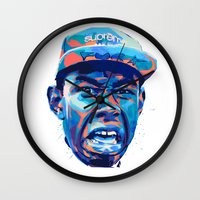 tyler the creator Wall Clocks featuring TYLER THE CREATOR: NEXTGEN RAPPERS by mergedvisible