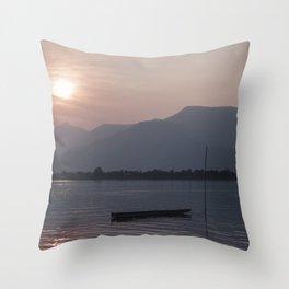 Sunset at Mekong Throw Pillow