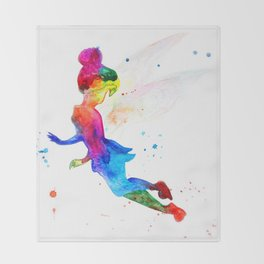 Tinker Bell, colorful Throw Blanket