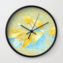 Scattered golden color and golden copper leaves Wall Clock