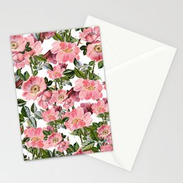 Vintage forest green pink coral bohemian floral Stationery Cards